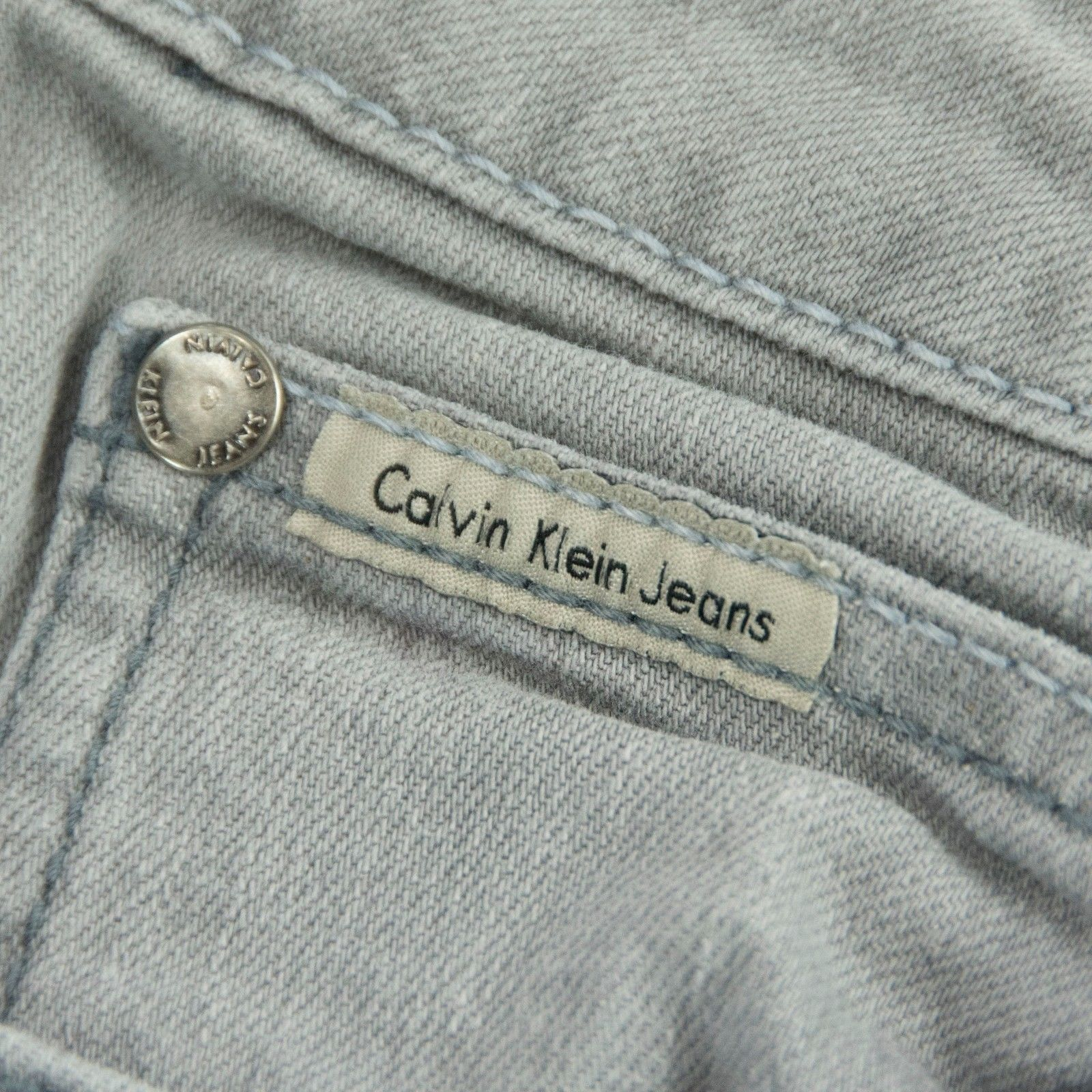 Calvin Klein Rhinestone Embellished Grey Slim Skinny Denim Jeans Size 33