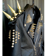Men Studded Leather JACKET Silver Long Spiked Brando Biker Christmas Par... - $229.99