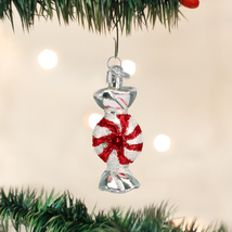 OLD WORLD CHRISTMAS PEPPERMINT CANDY RED & WHITE GLASS CHRISTMAS ORNAMEN... - $5.88