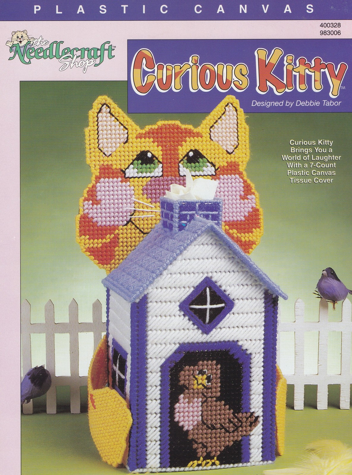 Curious Kitty, Cat Tissue Box Cover Plastic Canvas Pattern Leaflet TNS 983006