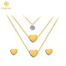 2018 New FINE4U N014 316L Stainless Steel Jewelry Sets For Women Heart P... - $16.81
