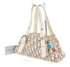 Auth CHRISTIAN DIOR Beige Trotter Canvas Embroidered Flowers Hand Bag #3... - $275.00