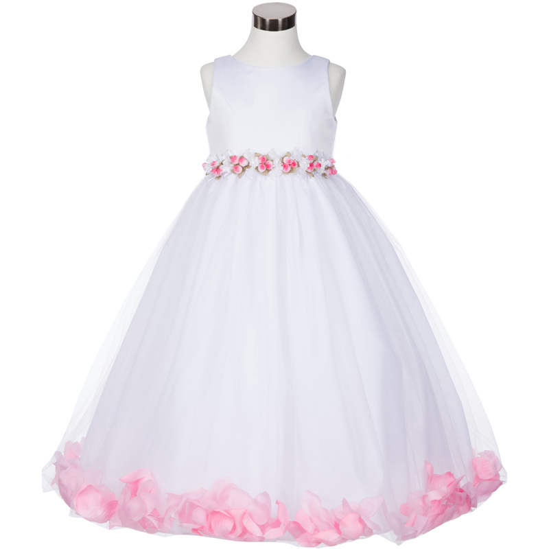Primary image for White Satin Bodice Floating Pink Flower Petals Layers Tulle Skirt Girl Dress