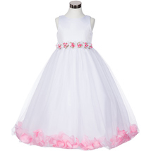 White Satin Bodice Floating Pink Flower Petals Layers Tulle Skirt Girl Dress - $37.95+