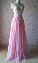 TAFFY PINK Full Tulle Skirt Bridesmaid Tulle Prom Skirt Dot High Waist US0-US28 image 3