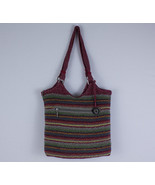 The Sak Cambria Crochet KnitTote Handbag Purse RainbowColorZip Close - $19.59