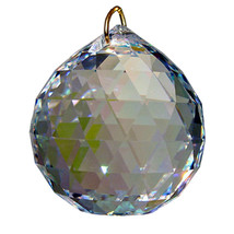 Swarvoski Strass Crystal 20mm Faceted Ball Prism  Aurora Borealis image 2