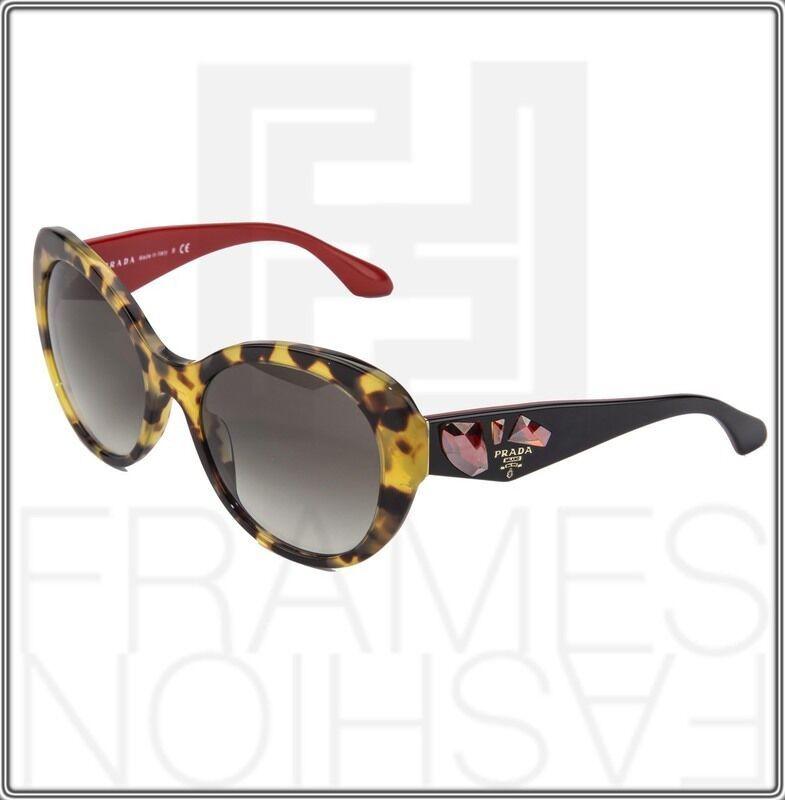 PRADA VOICE 26Q Cat Eye Sunglasses Havana Black Red Jewel Women PR PR26QS