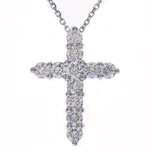 "1.15 Carat Round Diamond Cross on 16"" Cable Chain 14K White Gold - $1,147.41"