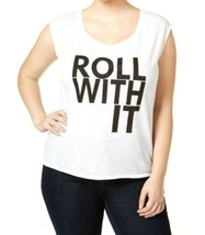 Rachel Roy NWT Tee Shirt 3X Plus Roll With It Graphic Stretch TM646 - $15.83