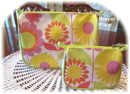 2 Clinique Makeup Travel Zippered Cases Pink Sunflower Floral New - $9.99