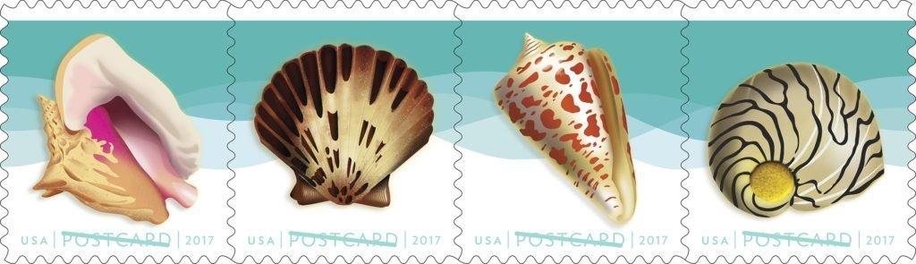 USPS Seashells Postcard Stamps. Sheet of 20.