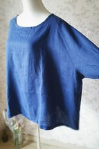 PLUS SIZE linen tunic Over-sized Blue tunics Summer Natural linen clothing NWT image 5