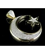 .925 Sterling Silver CZ Moon Star Designer Pendant  - $339.99