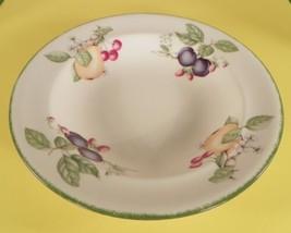 Royal Doulton COUNTRY LANE Brushed Green Trim Rimmed Pasta Salad Serving Bowl - $48.46
