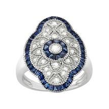 Beautiful Fantasy Solid 925 Silver Blue Topaz & Swarovski Womens Engagem... - $179.99