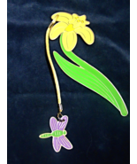 Flower & Dragonfly Metal Bookmark --Sacchi - $8.00