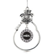 Inspired Silver Meh Circle Snowman Holiday Christmas Tree Ornament With Crystal  - $14.69