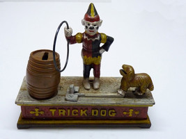 Vintage 1920-30s USA Mechanical Moving Trick Dog & Hoop Iron Savings Bank - $385.00