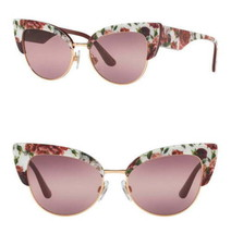 Dolce&Gabbana Sunglasses Cat Eye Pink $410 Roses Purple Lens Peonies Flo... - $168.30
