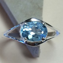 Natural 2ct Swiss Blue Topaz 925 Solid Sterling Silver Solitaire Ring sz 8 - $39.59