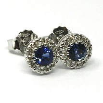 18K WHITE GOLD FLOWER EARRINGS ROUND SAPPHIRES 0.73 CT, DIAMONDS FRAME 0.23 CT image 2