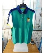 NAUTICA Boys Polo Shirt Sz M Medium 10/12 Blue/Green/White Spellout NWT - $12.86