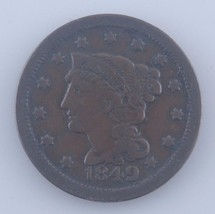 1849 Large Cent 1C, Fine Condition, Brown Color, Strong Detail for Grade - $34.64