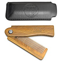 Folding Beard Comb w/Carrying Pouch for Men - All Natural Wooden Beard Comb w/Gi image 1