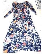 Sz 8 - Via Sant Andrea Black & Rust Long Sleeve Full Length Maxi Dress  - $33.24