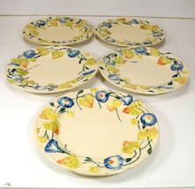 Vintage MORNING GLORY Basket Weave Pattern Plates Made in Japan Set of 6 - $32.99