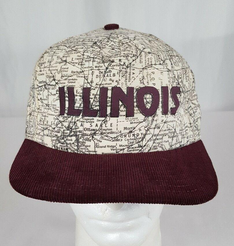Vtg Illinois Map Snapback Hat Cap Corduroy Bill IL Roadmap Burgundy Made in USA image 2