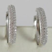 White Gold Earrings 750 18K Circle, Diameter 2 cm, Triple Row Zircon, 3 MM image 2