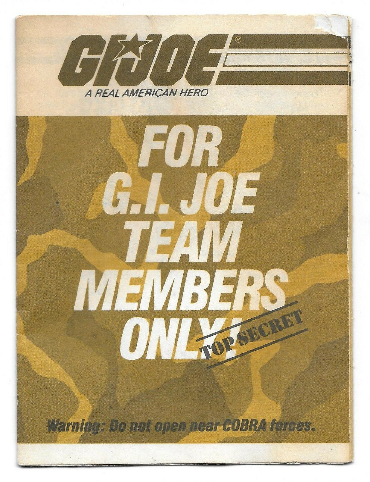 Primary image for 1984 G.I. Joe For Team Members Only Brown Mail Order Folding Pamphlet Cobra