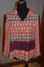 ANTHROPOLOGIE SAM & LAVI RED BLUE IVORY GOLD Button DOWN SHIRT S GEOMETR... - $22.50