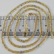 18K YELLOW WHITE GOLD CHAIN 3 MM FLAT CLASSIC EYE LINK 19.7 INCH. MADE IN ITALY  image 1