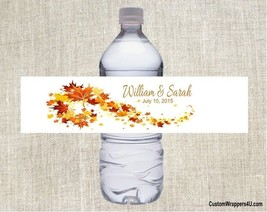 Wedding Bridal Shower FALL LEAVES Party Favor Water Bottle Labels Person... - $3.96+