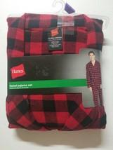 Hanes ~ Men's Pajama Shirt & Pant Set Flannel Black Red Plaid ~ 2XL - $19.79