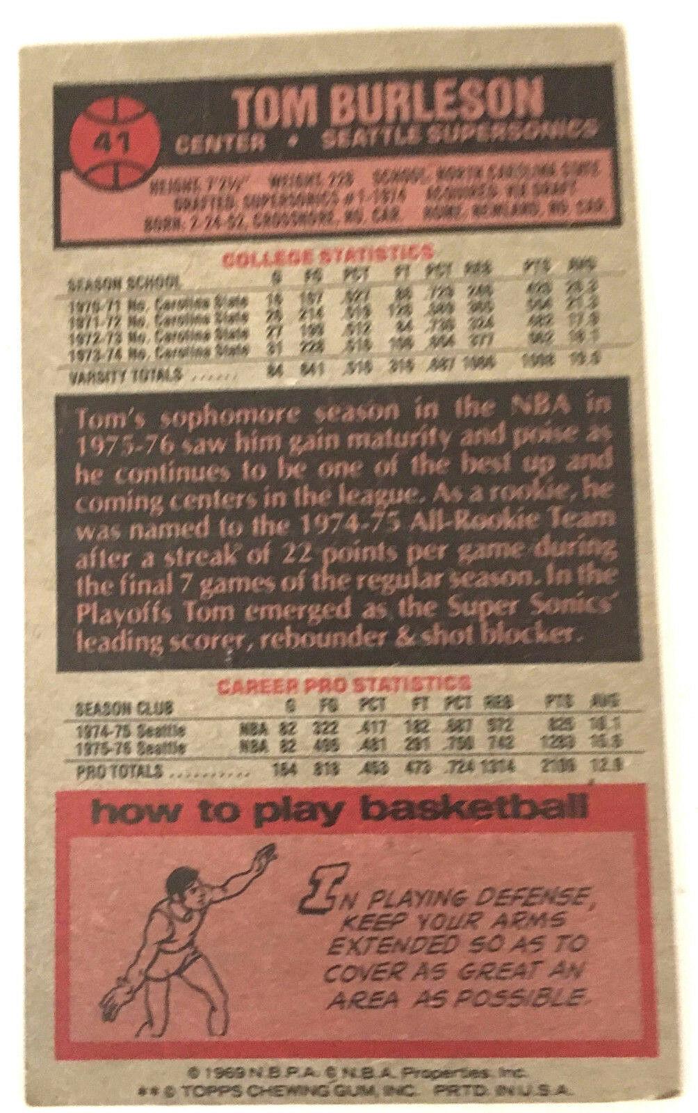 1976 Topps Basketball Sonics Tom Burleson #41