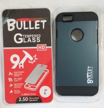 GREY BULLET HARD CELL PHONE CASE & IMPACT RESISTANT PROTECTIVE GLASS IPH... - $6.31