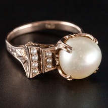 Vintage 1930s Round Cultured Akoya Pearl Solitaire Cocktail Ring W/ Acce... - $500.00