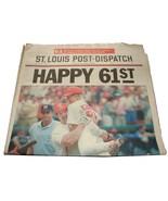 1998 Sept 8 St Louis Post Dispatch Newspaper Mark McGwire Ties Roger Mar... - $15.99