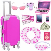 ZITA ELEMENT 16 Pcs American Doll Suitcase Luggage Travel Play Set for G... - $37.77
