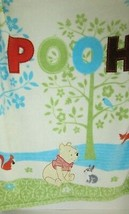 Baby Blanket Pooh spelled out tree squirrel fox bunny owl green blue flo... - $24.74