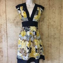 DIZZY LIZZY S Dress Sleeveless V-Neck Tie Back  Black Yellow Floral Coverup - $15.92