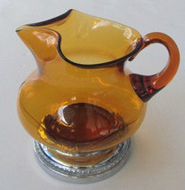 1950's Vintage Krome Kraft Mid-century Amber Color Glass Pitcher, Juice ... - $64.99