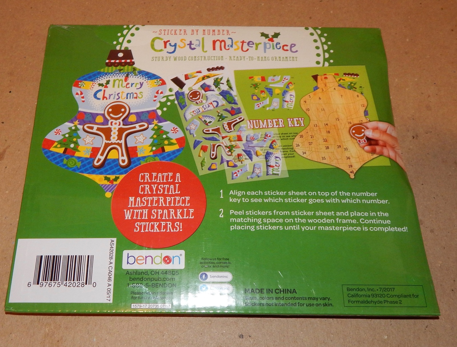 Christmas Ornament Sticker By Number Kit Crystal Masterpiece 40 stickers 151Z