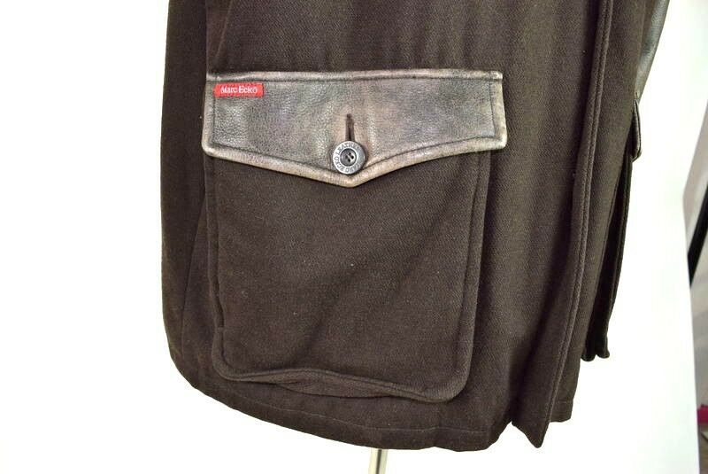 Marc Ecko Leather & Wool Heavy Bomber Jacket Brown Varsity Style Button Mens XL image 12