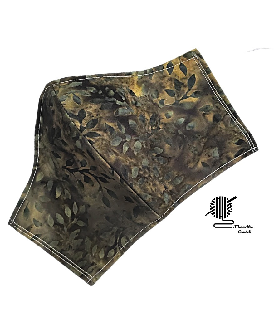 Primary image for Face Mask Batik Olive Green Cotton 3 Layer Womens Facemask Cover Handmade USA