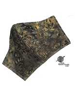 Face Mask Batik Olive Green Cotton Womens Facemask Cover Handmade USA - $12.95